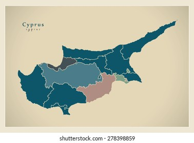 Modern Map - Cyprus with all borders CY