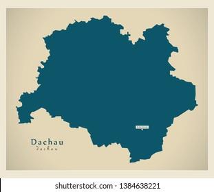Modern Map - Dachau county of Bavaria DE