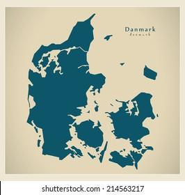 Modern map - Denmark