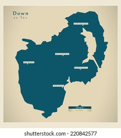 Modern Map - Down UK