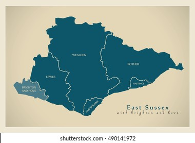 Modern Map - East Sussex county with brighton and districts labels UK