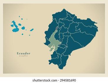 Modern Map - Ecuador with islands and provinces EC