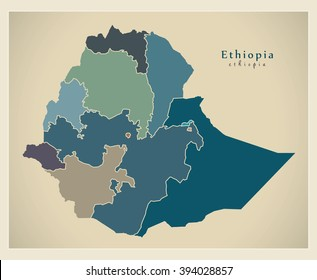 Ethiopia map images stock photos vectors shutterstock modern map ethiopia with regions colored et gumiabroncs Choice Image