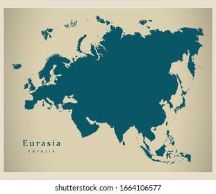 Modern Map - Eurasia map complete vector illustration