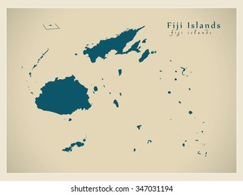 Modern Map - Fiji Islands FJ