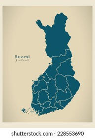 Modern Map - Finland with federal states FI