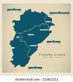 Modern map - Franche-Comt�© FR