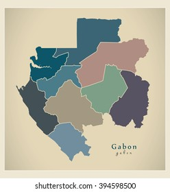 Modern Map - Gabon with provinces colored GA