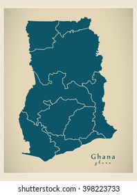 Modern Map - Ghana with regions GH