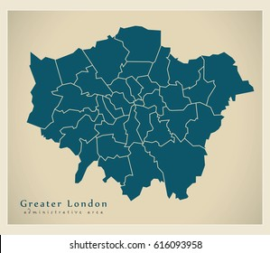 Modern Map - Greater London administrative area with districts UK