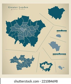 Modern Map - Greater London UK