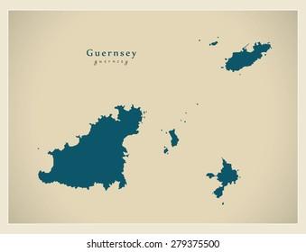 Modern Map - Guernsey GG