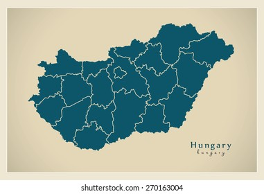 Modern Map - Hungary with administrative divisions HU