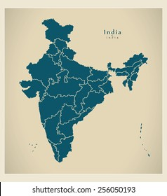 Modern Map - India with federal states IN
