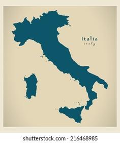 Modern map - Italia