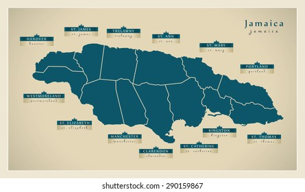 Modern Map - Jamaica with detailed parishes JM