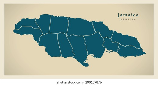Modern Map - Jamaica with parishes JM