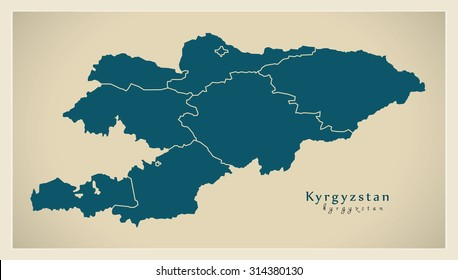 Modern Map - Kyrgyzstan with provinces KG