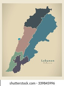 Modern Map - Lebanon with governorates colored LB