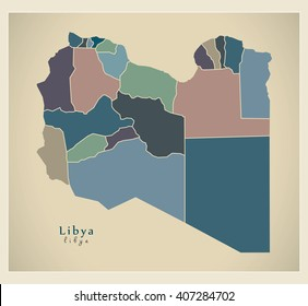 Modern Map - Libya with districts colored LY