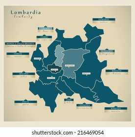 Modern map - Lombardia IT