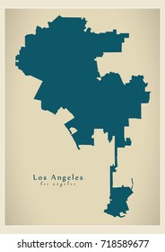 Modern Map - Los Angeles city of the USA