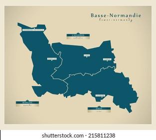 Modern map - Lower Normandy FR