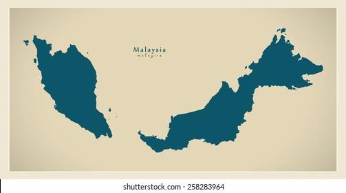 Modern Map - Malaysia MY