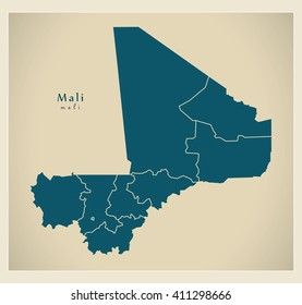 Modern Map - Mali with regions ML