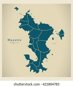 Modern Map - Mayotte with communes YT