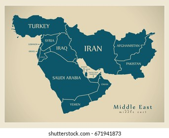 Modern Map - Middle East with countries illustration