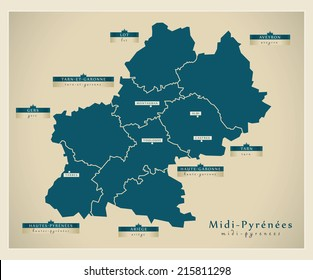 Modern map - Midi-Pyrenees FR