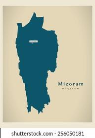 Modern Map - Mizoram IN