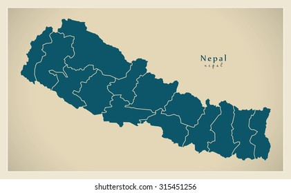 Nepal map images stock photos vectors shutterstock modern map nepal with zones np gumiabroncs