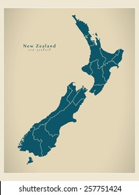 Modern Map - New Zealand with regions NZ