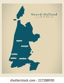 Modern map - Noord-Holland NL