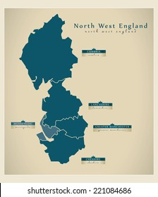Modern Map - North West England UK