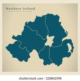 Modern Map - Northern Ireland with counties UK