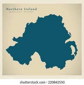 Modern Map - Northern Ireland UK