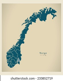 Modern Map - Norway with counties NO