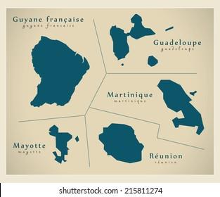 Modern map - Overseas Departements FR