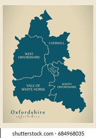 Modern Map - Oxfordshire county with district captions England UK illustration