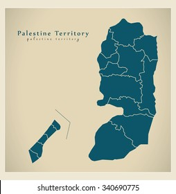 Modern Map - Palestine Territory with borders