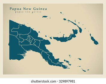 Modern Map - Papua New Guinea with provinces PG