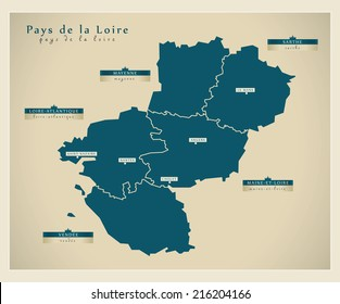 Modern map - Pays de la Loire FR