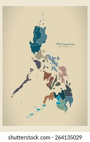 Modern Map - Philippines with regions PH