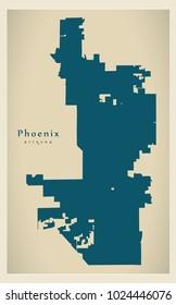 Modern Map - Phoenix city of the USA