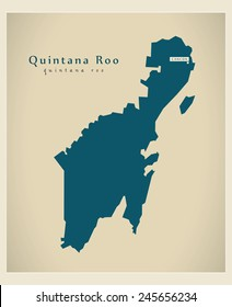 Modern Map - Quintana Roo MX