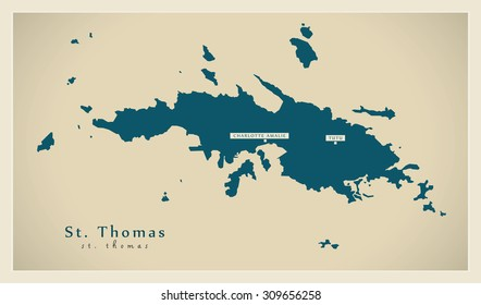 Modern Map - Saint Thomas VI