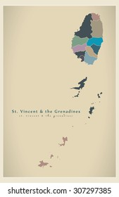 Modern Map - Saint Vincent and the Grenadines region details VC